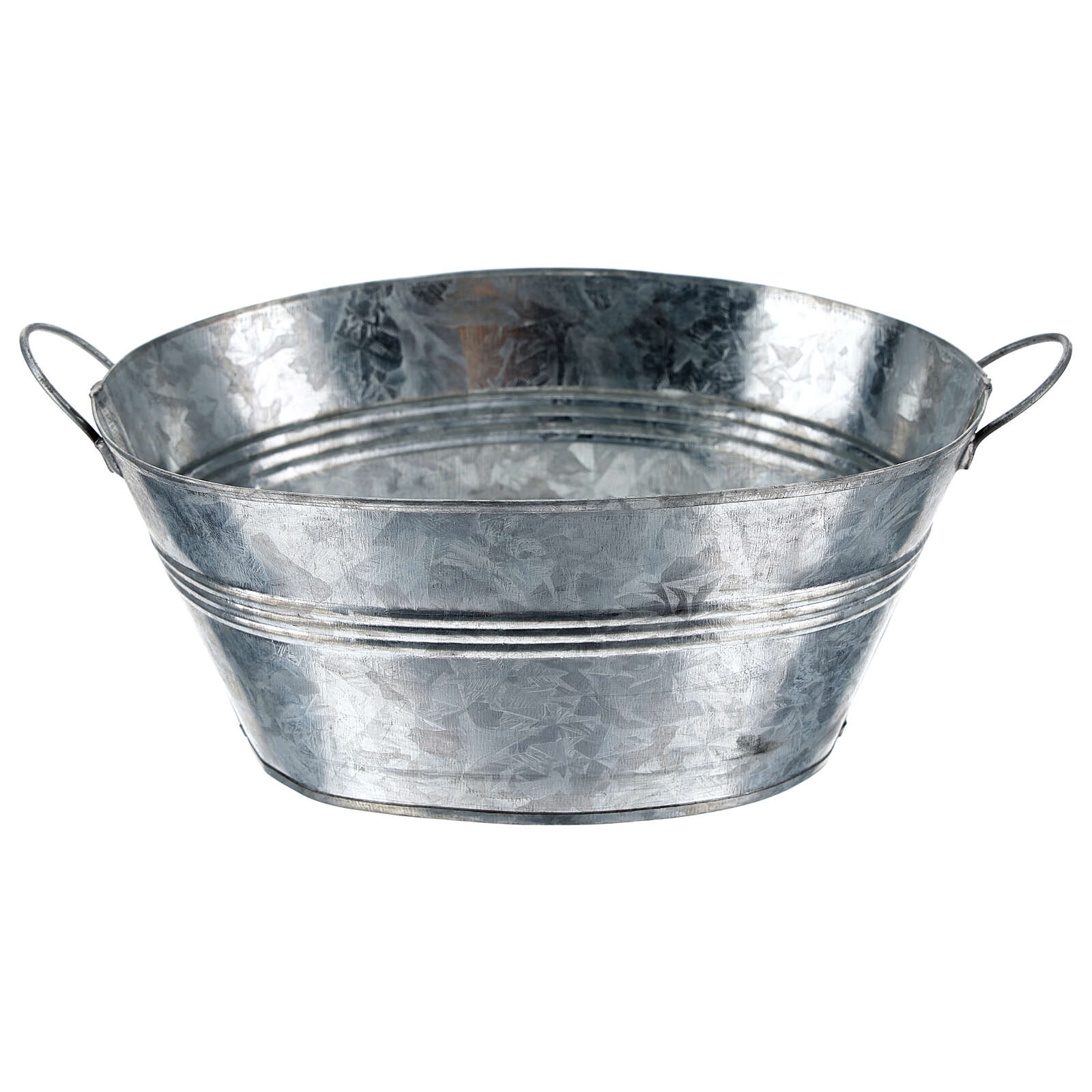Oval metal tub h 5 cm for Nativity Scene with 24 cm figurines 4