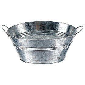 Oval metal tub h 5 cm for Nativity Scene with 24 cm figurines s3