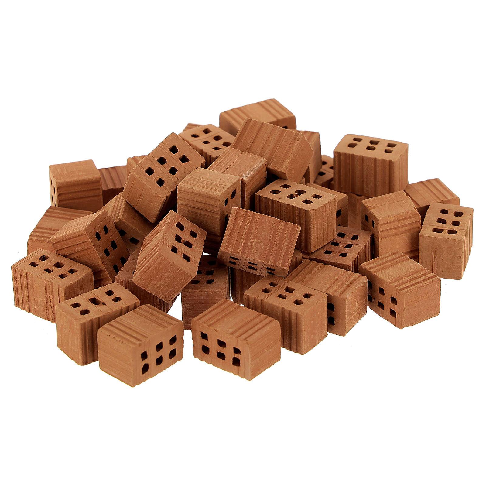 Tijolos terracota miniaturas 1x1,5x1 cm para presépio, 100 unidades 4