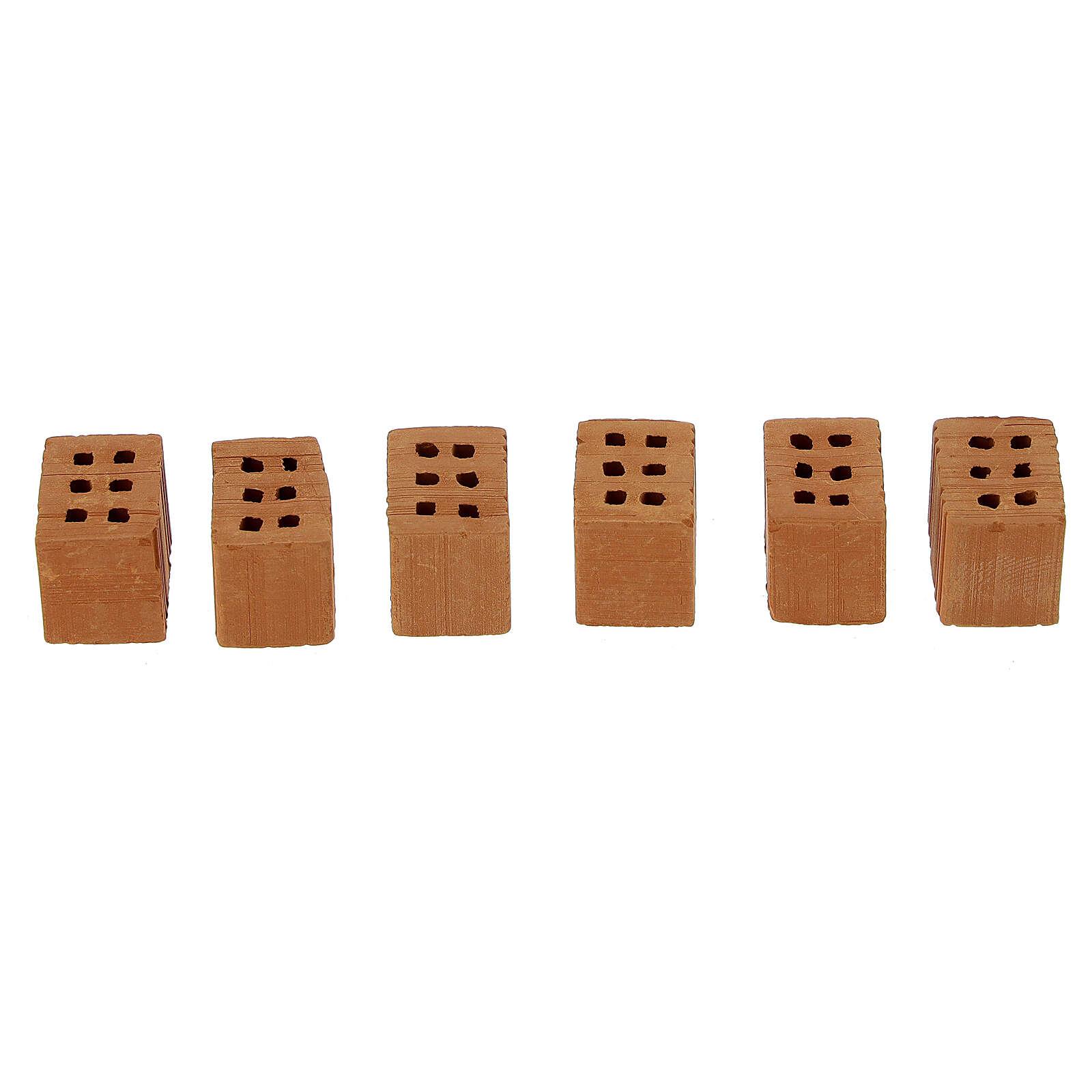 Terracotta bricks 1x1,5x1 cm 100 pieces for Nativity Scene 4