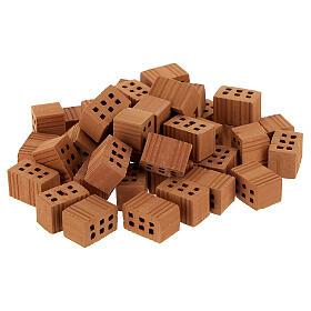 Terracotta bricks 1x1,5x1 cm 100 pieces for Nativity Scene s1
