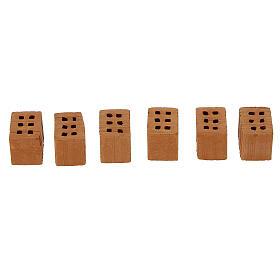 Terracotta bricks 1x1,5x1 cm 100 pieces for Nativity Scene s2
