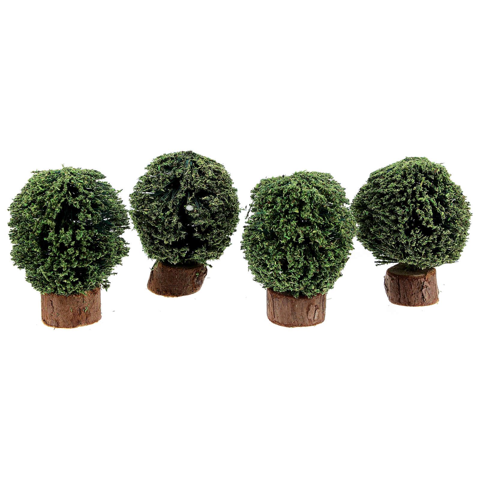 Cespugli vaso in legno 4 pz h reale 5 cm presepe 8 cm 4
