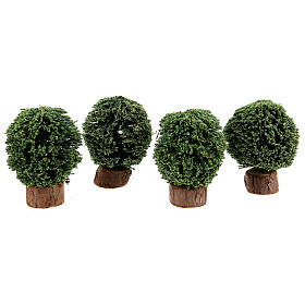 Bushes in wood pot 4 pieces h 5 cm for Nativity Scene with 8 cm figurines s1