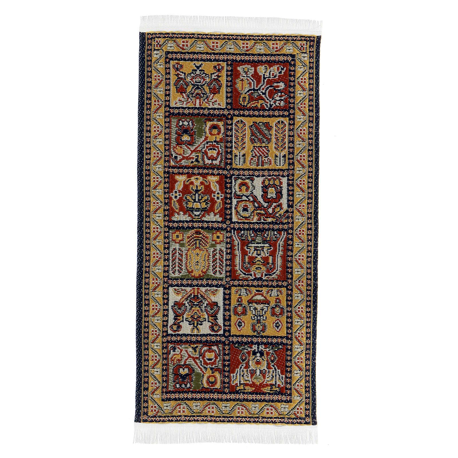 Tapete decorado 13x6 cm miniatura para presépio com figuras altura média 14-20 cm 4