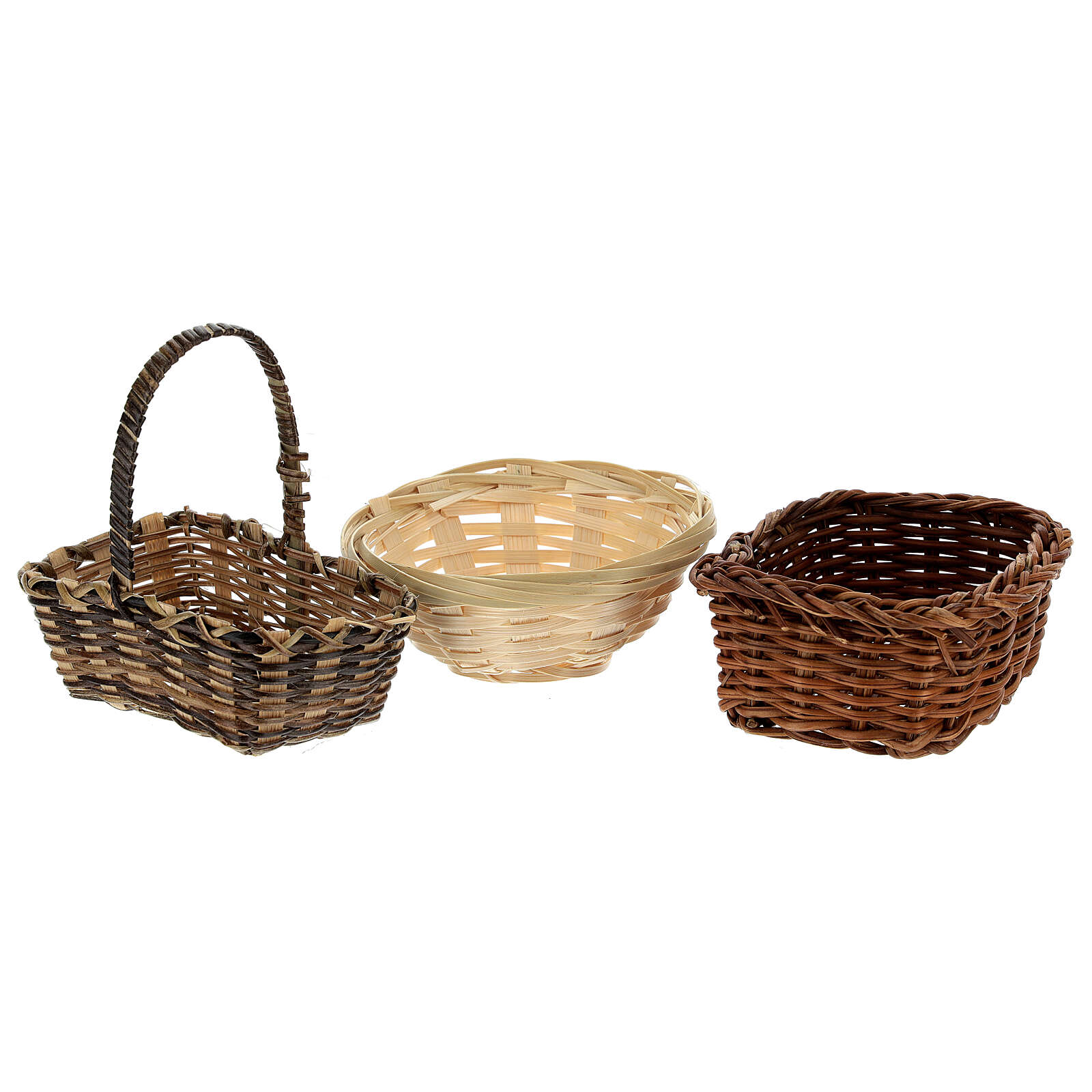 Wicker baskets 10 pieces different shapes and sizes for Nativity Scene with 20-30-40 cm figurines 4
