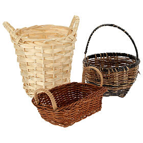 Wicker baskets 10 pieces different shapes and sizes for Nativity Scene with 20-30-40 cm figurines s2