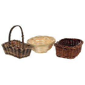 Wicker baskets 10 pieces different shapes and sizes for Nativity Scene with 20-30-40 cm figurines s3