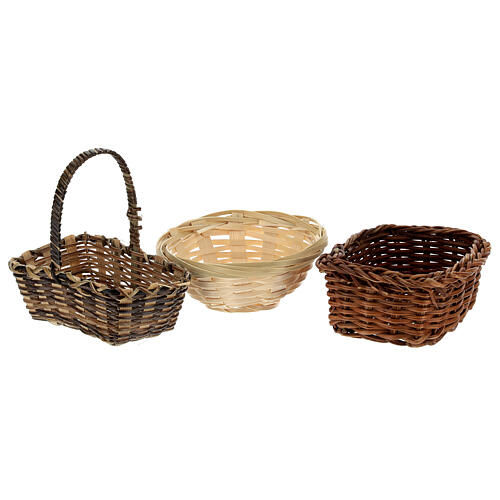 Wicker baskets 10 pieces different shapes and sizes for Nativity Scene with 20-30-40 cm figurines 3
