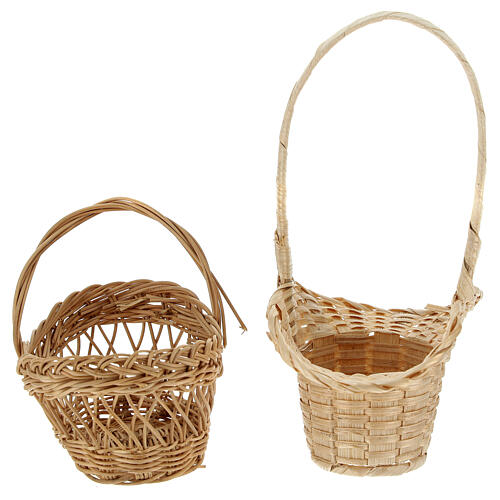 Wicker baskets 10 pieces different shapes and sizes for Nativity Scene with 20-30-40 cm figurines 5