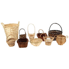 Wicker baskets 10 pieces different shapes and sizes for Nativity Scene with 20-30-40 cm figurines s1