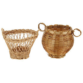 Wicker baskets 10 pieces different shapes and sizes for Nativity Scene with 20-30-40 cm figurines s4