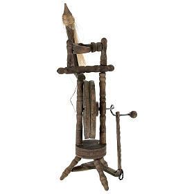 Wooden spinning wheel h 14 cm for Nativity scene s4