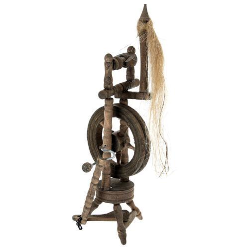 Wooden spinning wheel h 14 cm for Nativity scene 2