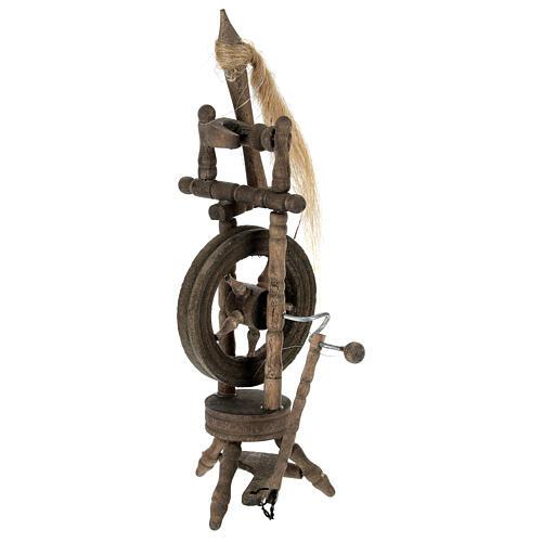 Wooden spinning wheel h 14 cm for Nativity scene 3