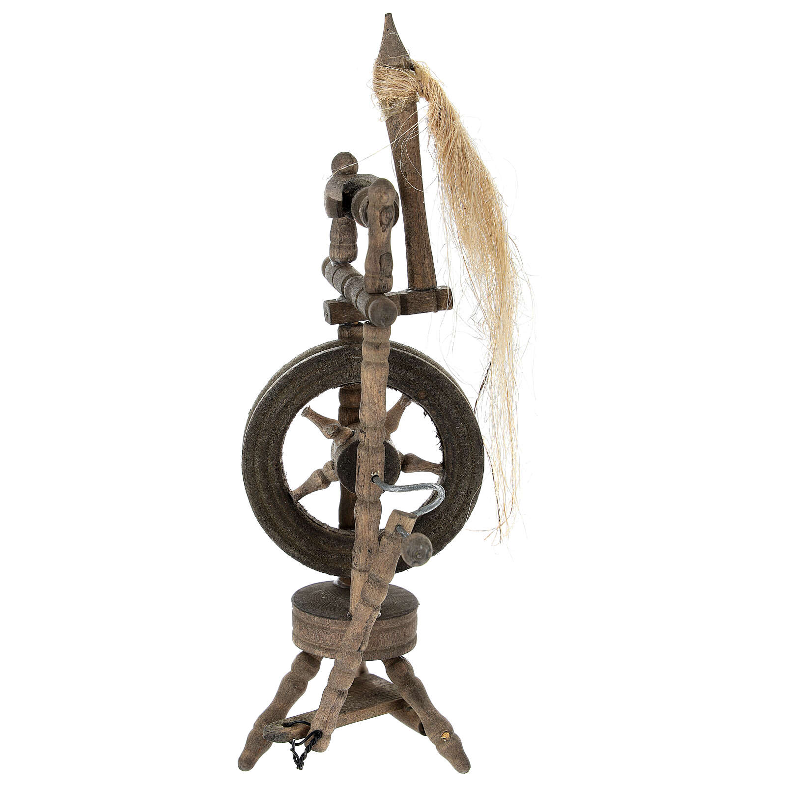 Wood spinning wheel for Nativity Scene with 12 cm figurines 4
