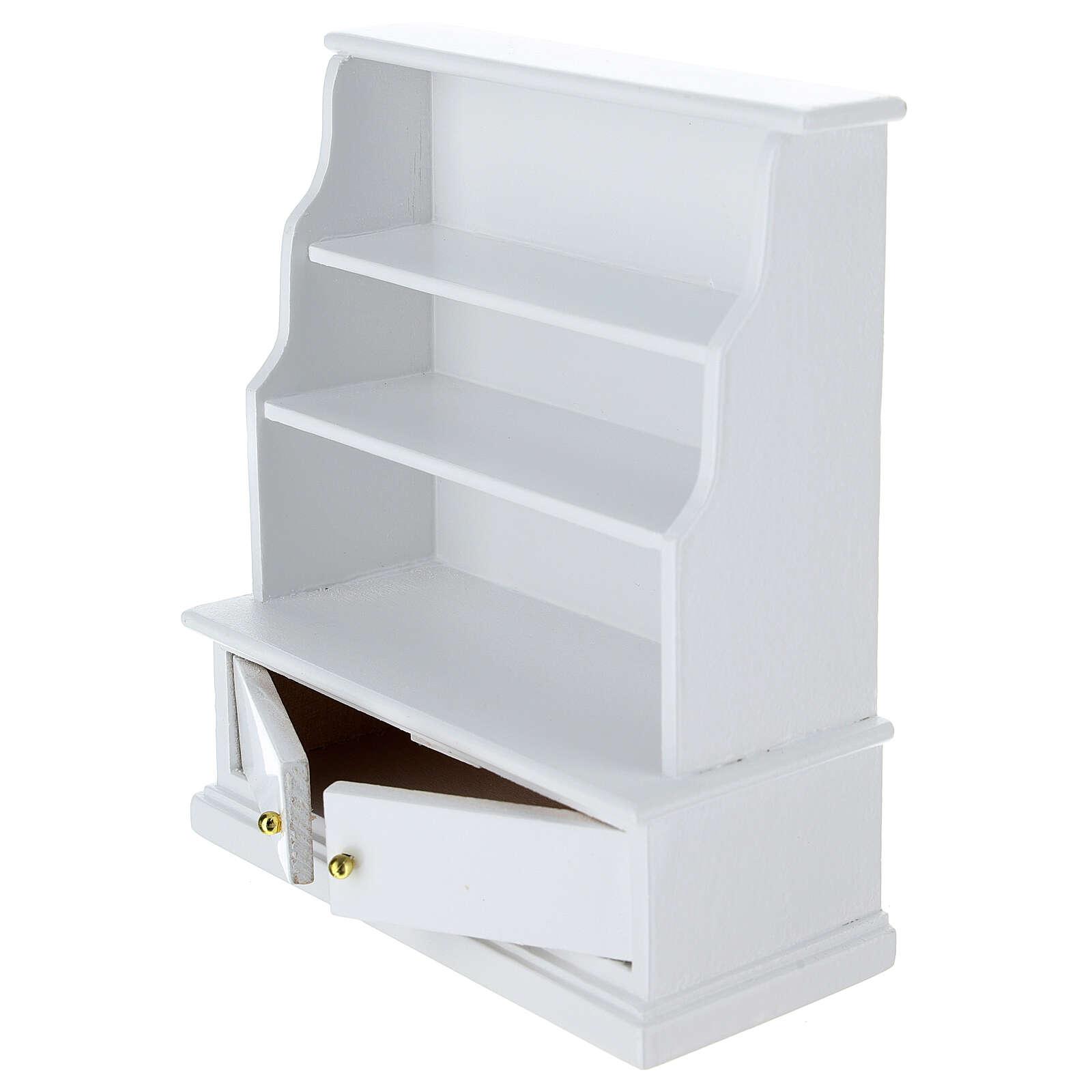 Estante madeira branca miniatura para presépio com figuras altura média 10 cm 4