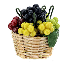 Basket of colored grapes for Nativity scene 8 cm s1