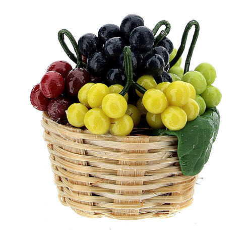 Basket of colored grapes for Nativity scene 8 cm 1