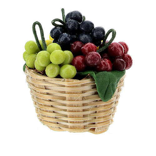 Basket of colored grapes for Nativity scene 8 cm 2