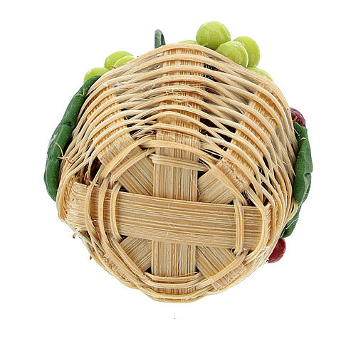 Basket with colored grape for Nativity Scene with 8 cm figurines 3