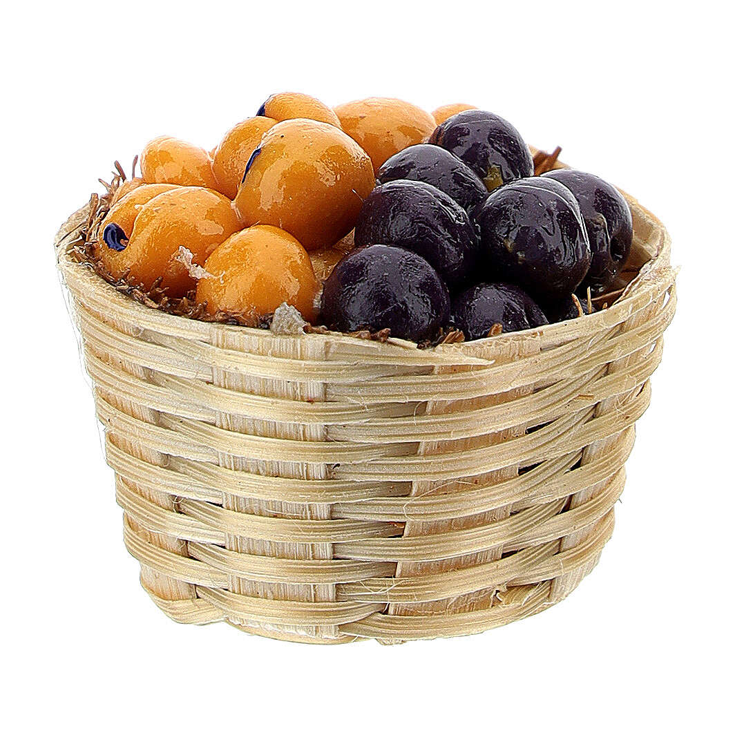 Basket with plums and abricots for Nativity Scene with 6 cm figurines 4