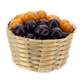 Basket with plums and abricots for Nativity Scene with 6 cm figurines s2