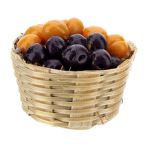 Basket with plums and abricots for Nativity Scene with 6 cm figurines 2