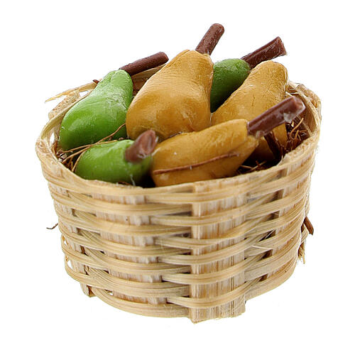Basket with pears 3 pieces for Nativity Scene with 6-8 cm figurines 1