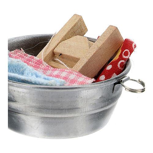 Bacia para lavar roupa miniatura para presépio com figuras altura média 6-8 cm 2