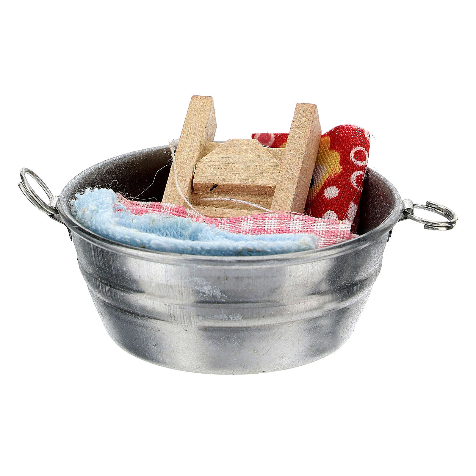Wood tub with clothes for Nativity Scene with 6-8 cm figurines 4