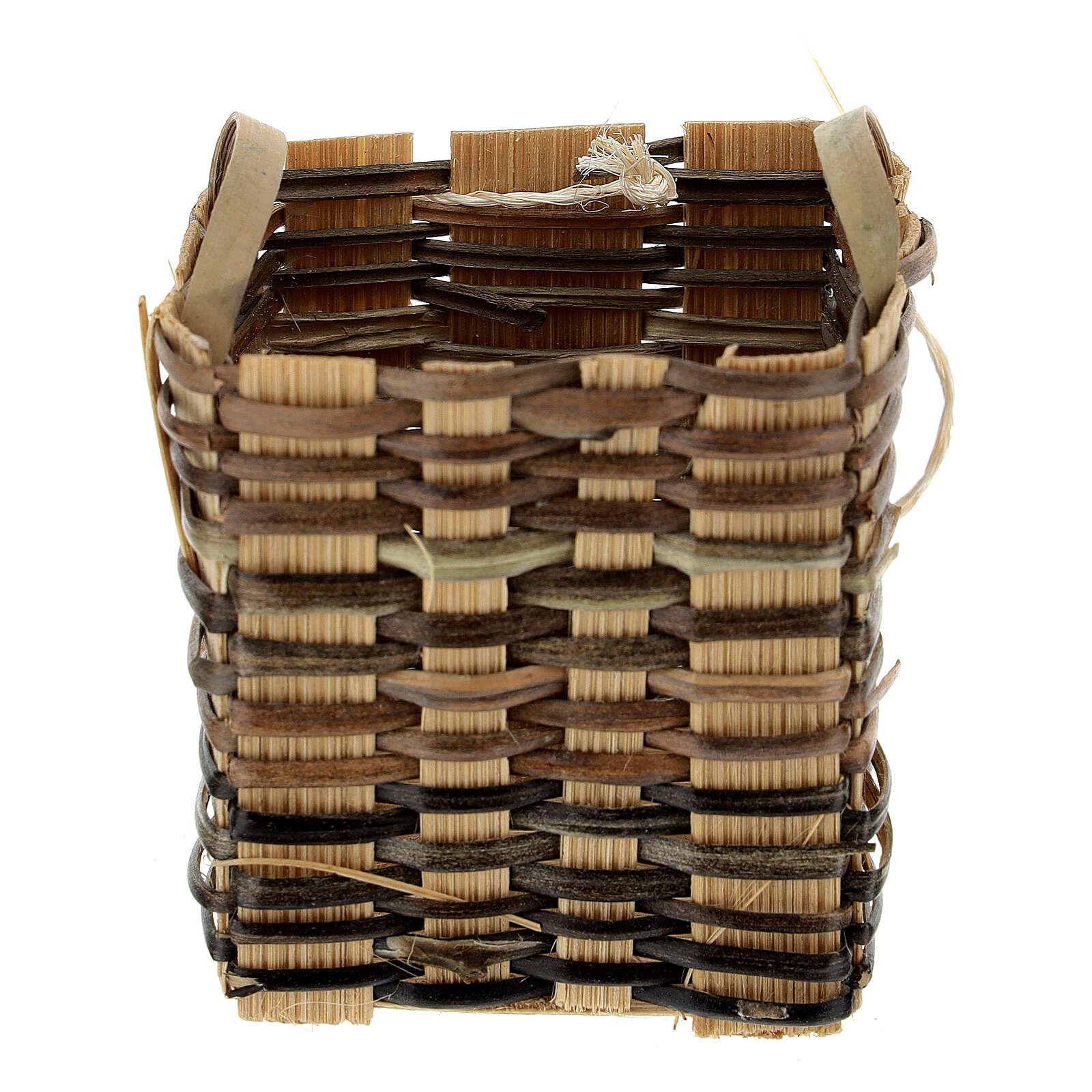 High wicker basket 5x5x5 cm for Nativity Scene with 12-14 cm figurines 4
