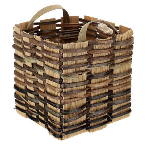 High wicker basket 5x5x5 cm for Nativity Scene with 12-14 cm figurines 2