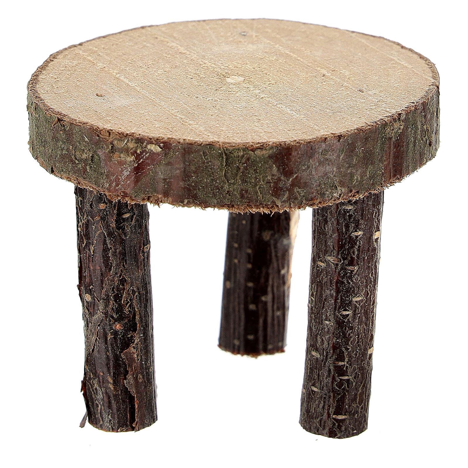 Mesa redonda sección tronco h 4 cm belenes 10 cm 4