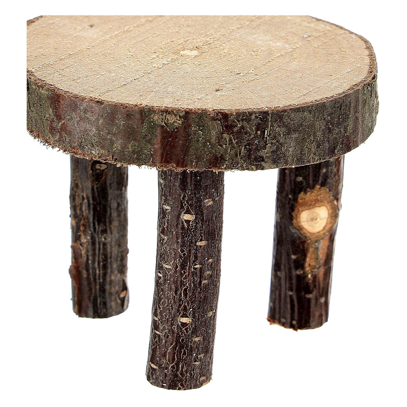 Mesa redonda madeira natural miniatura 4 cm para presépio com figuras altura média 10 cm 4