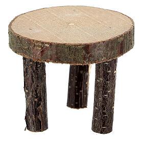 Mesa redonda madeira natural miniatura 4 cm para presépio com figuras altura média 10 cm s1