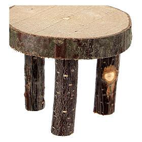 Mesa redonda madeira natural miniatura 4 cm para presépio com figuras altura média 10 cm s2