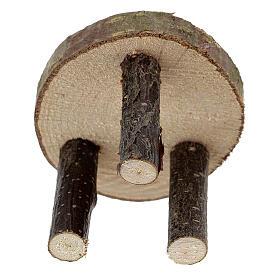 Mesa redonda madeira natural miniatura 4 cm para presépio com figuras altura média 10 cm s3