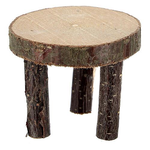 Mesa redonda madeira natural miniatura 4 cm para presépio com figuras altura média 10 cm 1