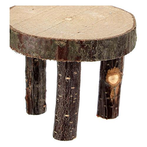 Mesa redonda madeira natural miniatura 4 cm para presépio com figuras altura média 10 cm 2