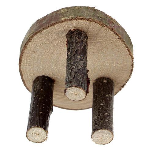 Mesa redonda madeira natural miniatura 4 cm para presépio com figuras altura média 10 cm 3