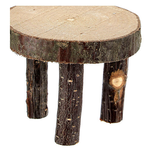 Round table tree trunk section h 4 cm for Nativity Scene with 10 cm figurines 2
