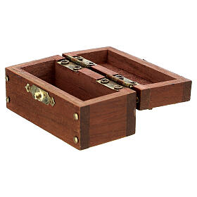 Wooden trunk with opening 3x6x3 cm Nativity scene 10 cm s2
