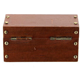 Wooden trunk with opening 3x6x3 cm Nativity scene 10 cm s3