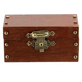 Baule legno con apertura 3x6x3 cm presepi 10 cm s1