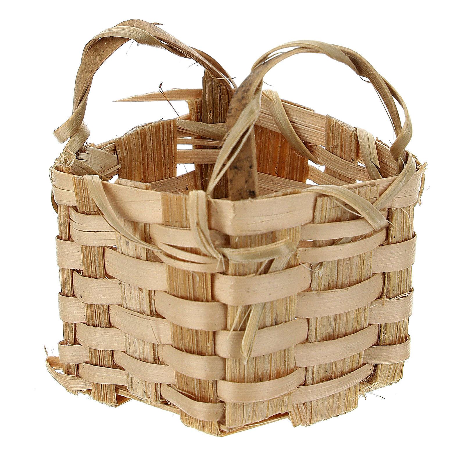 Wicker basket with handles 4x3,5x3 cm for Nativity Scene with 10 cm figurines 4
