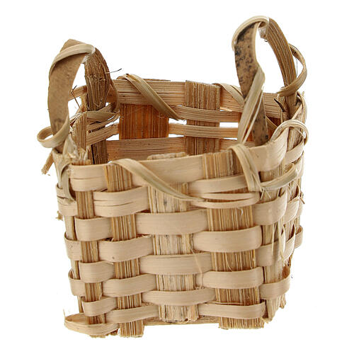 Wicker basket with handles 4x3,5x3 cm for Nativity Scene with 10 cm figurines 1