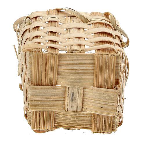 Wicker basket with handles 4x3,5x3 cm for Nativity Scene with 10 cm figurines 3