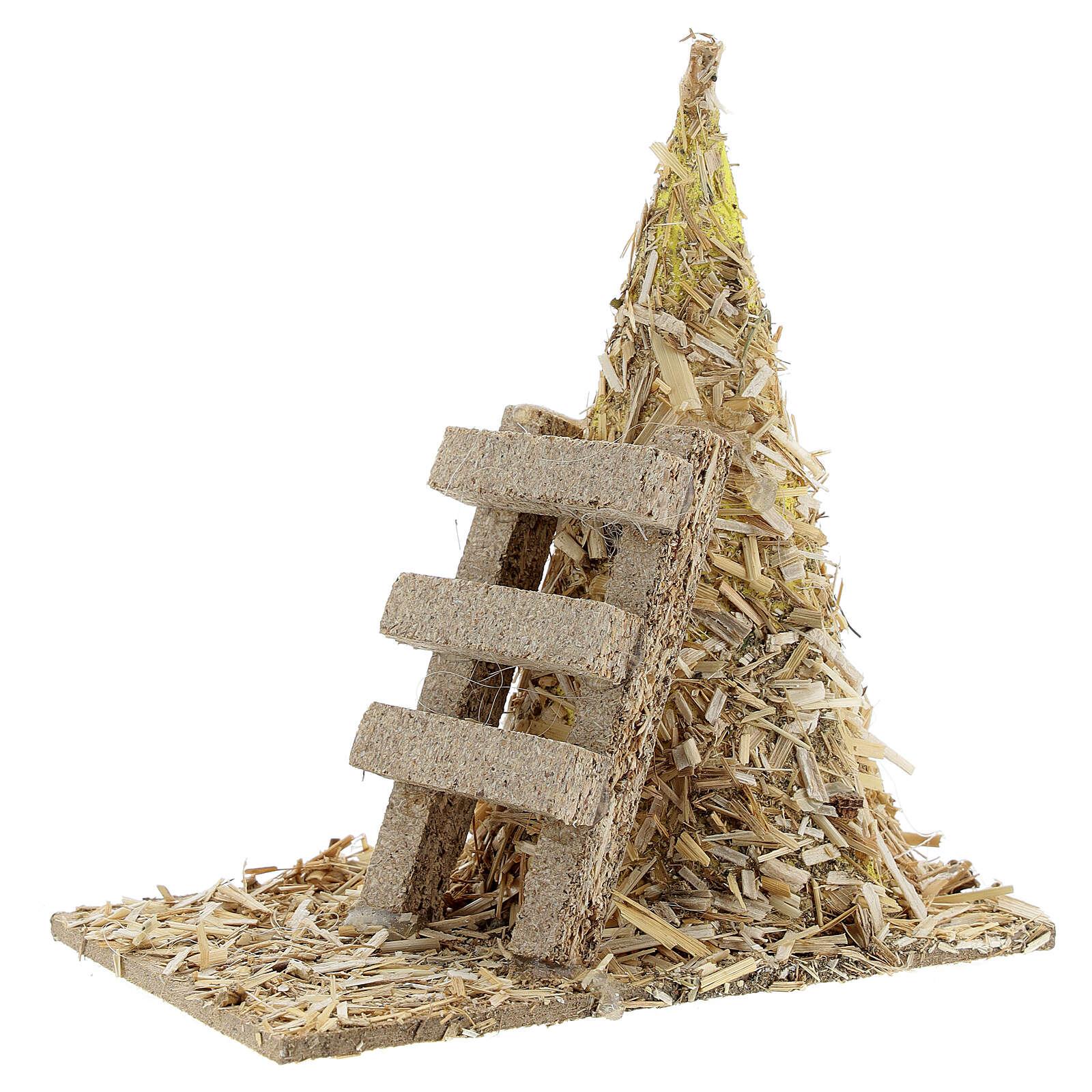 Palheiro com escada miniatura 12x12x7 cm para presépio com figuras altura média 8-10 cm 4
