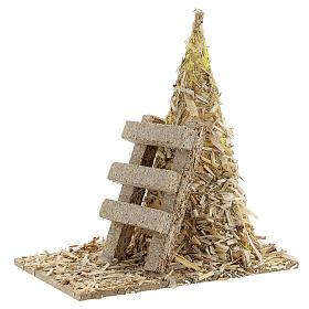 Palheiro com escada miniatura 12x12x7 cm para presépio com figuras altura média 8-10 cm s2